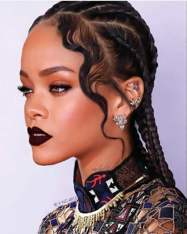 braids, cool, dark makeup, dress, earrings