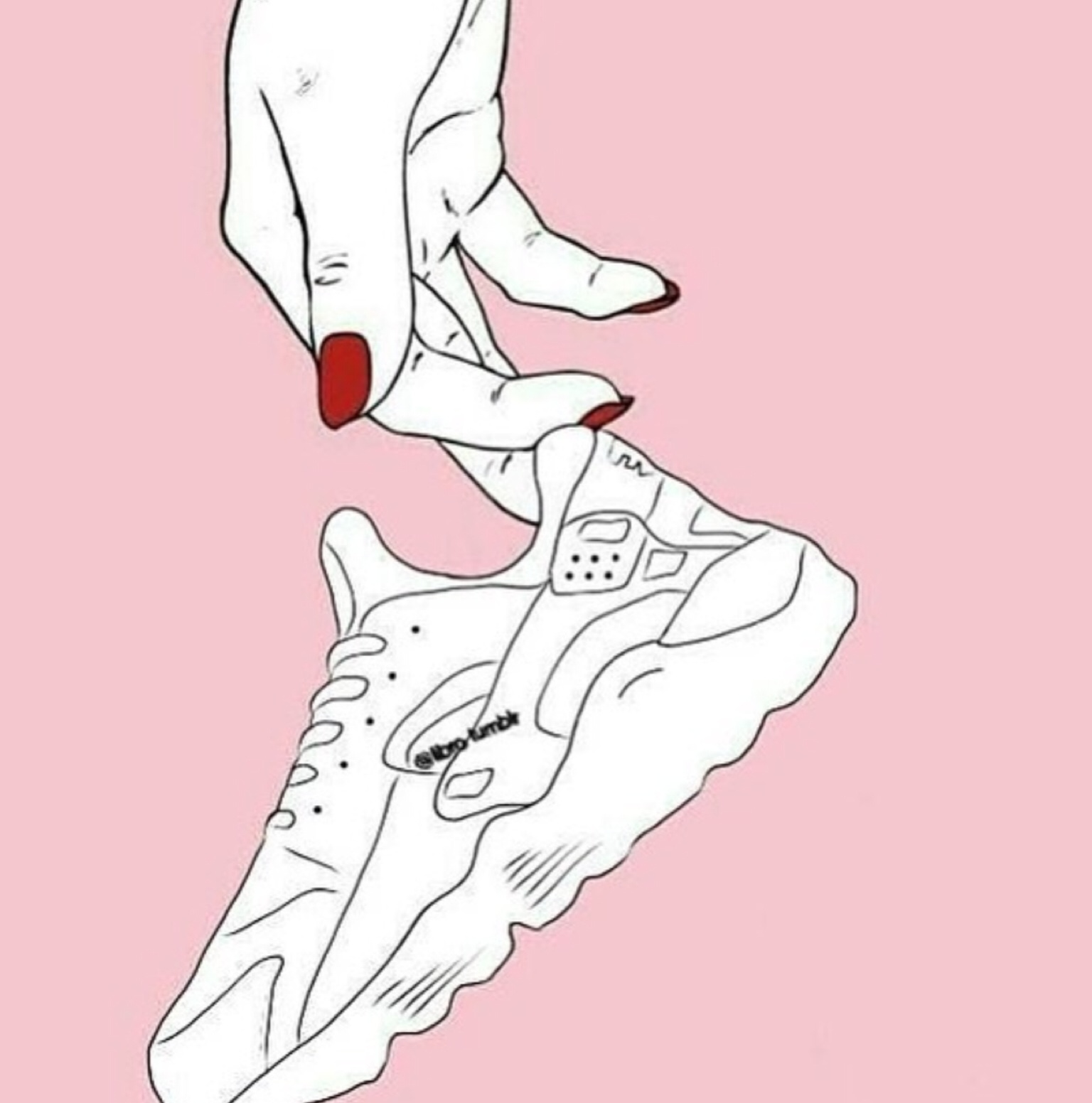 hand, nails, outline, pink, sneaker