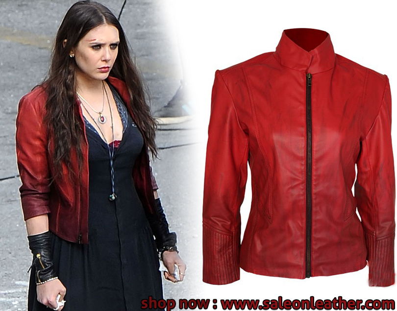 leatherjackets, scarlet witch, saleonleather, avangers age, ultron red
