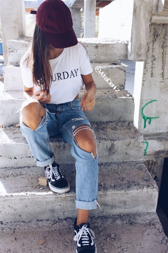 denim, grunge, hair, hat, ripped jeans