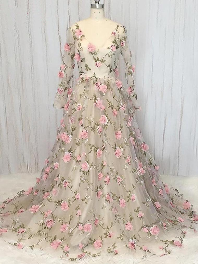 Gorgeous Prom Dresses, Floral Prom Dress, Prom Dresses 2018, prom dresses unique, prom dresses elegant