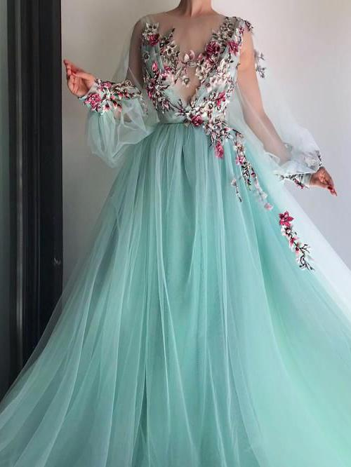 fashion, floral, girl, long sleeve, prom dresses